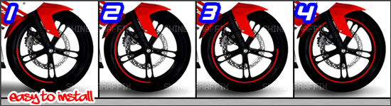 Motorcycle Wheel stripes Installation