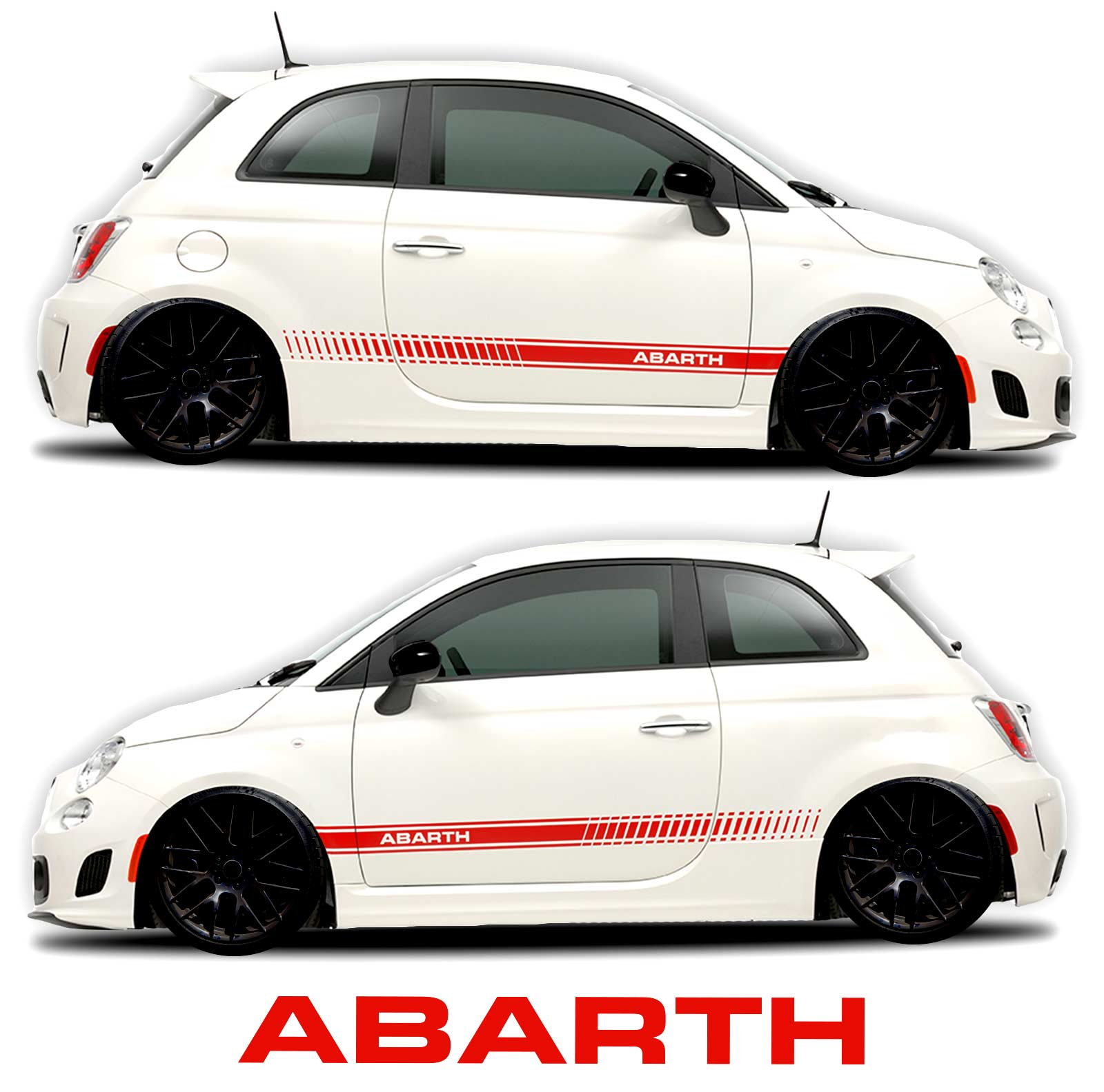 Fiat Abarth 500 rocker panel graphic decal red