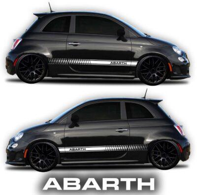Fiat Abarth 500 rocker panel graphic decal white