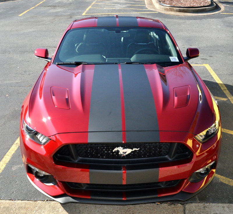 mustang racing stripes matte black
