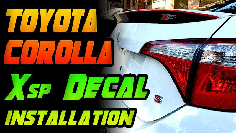 Toyota Corolla Xsp decal installation