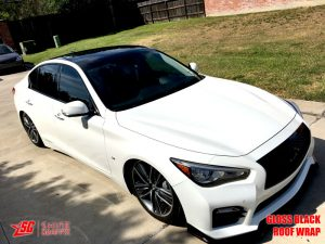 Infiniti Q50 gloss black roof wrap 3m