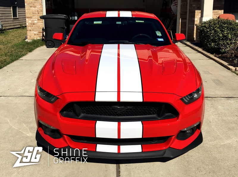 red mustang shelby racing stripes 2 colors front