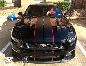 Black mustang shelby racing stripes 2 colors front