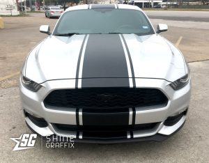 2017 ford mustang snake stripes front
