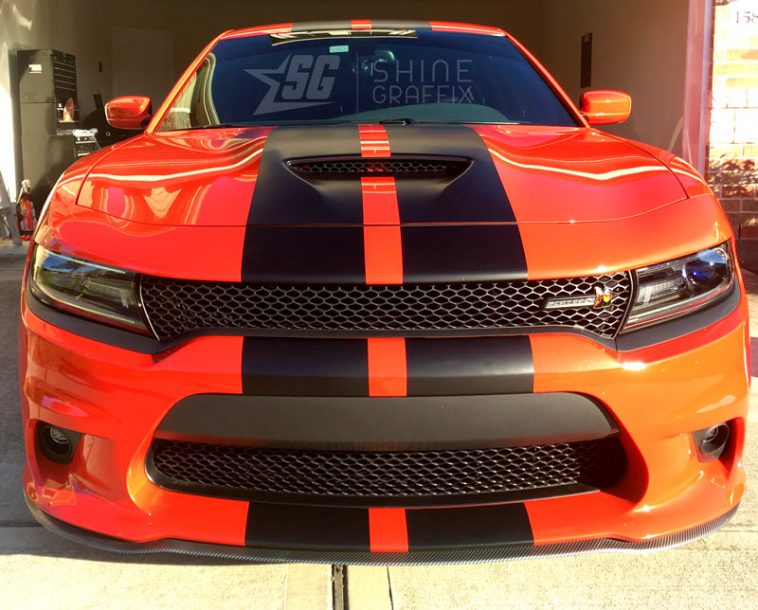 Charger srt racing stripes 1 scat pack front