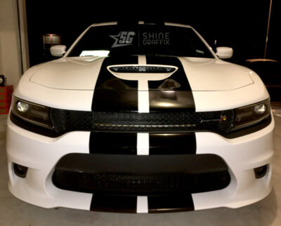 Charger scat pack racing stripes front