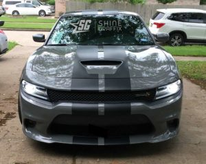 Dodge charger scat pack Hellcat stripes hood scoop Gray Front