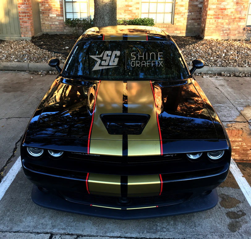 Challenger Dual Srt Racing Stripes Precut Scoop Area