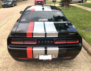 Dodge Challenger Triple Racing Stripes SRT Rear