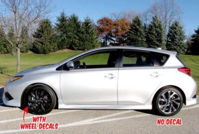 Corolla scion iM wheel decals side silver 2016 2017
