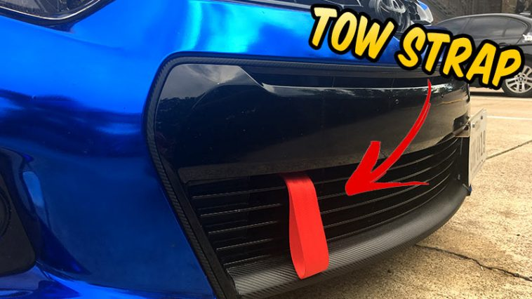 How to install a tow strap Toyota Corolla