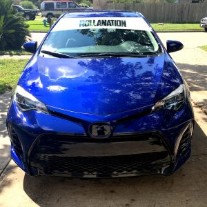 Rollanation decal Windshield banner sample corolla club front