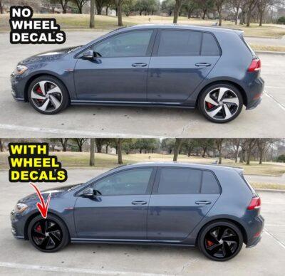 "2018 VW GTI MK7.5 WHEELS DECALS for 18"" wheels EXAMPLE"