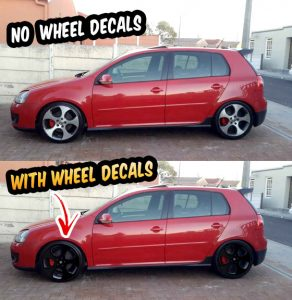 "VW Golf GTI mk5 mk6 wheel decals 18"" Detroit wheels black"