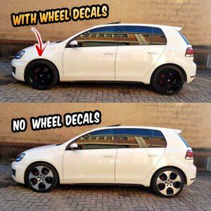 "VW Golf GTI mk5 mk6 wheel decals 18"" Detroit wheels"