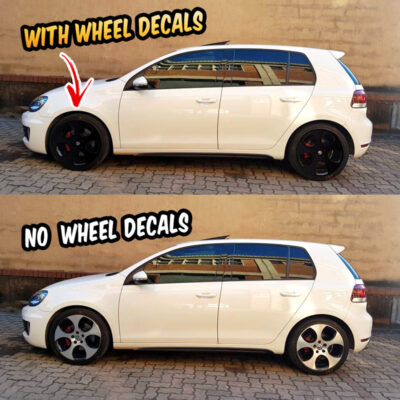"VW Golf GTI mk5 mk6 wheel decals 18"" Detroit wheels"