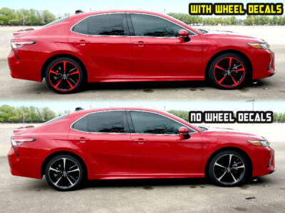 2019 toyota camry xse 19 Black wheel decals red