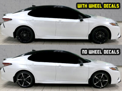 2019 toyota camry xse 19 Black wheel decals white