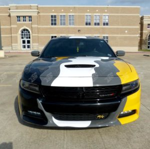 dodge charger camouflege wrap front