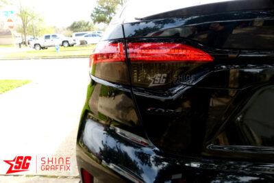 2020 Corolla Sedan Taillight Tint OVERLAYS clear area left side