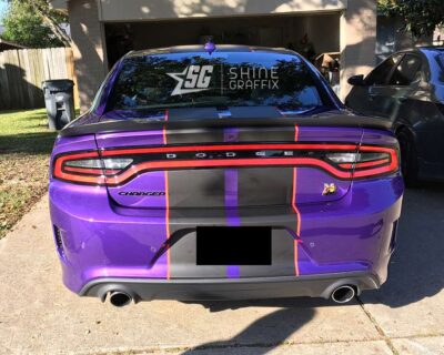 Dodge Charger Scat pack Hellcat stripes-hood scoop with pinstripes Rear