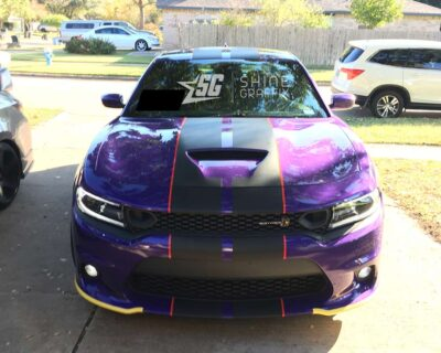 Dodge Charger Scat pack Hellcat stripes-hood scoop with pinstripes Top