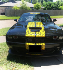 Dodge Challenger Honeycomb Stripes front view scat pack yellow