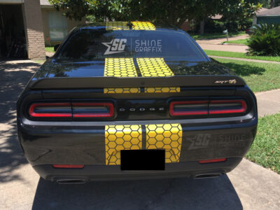 Dodge Challenger Honeycomb Stripes rear view scat pack yellow