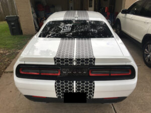 Dodge Challenger SXT Hood honeycomb-stripes rear view